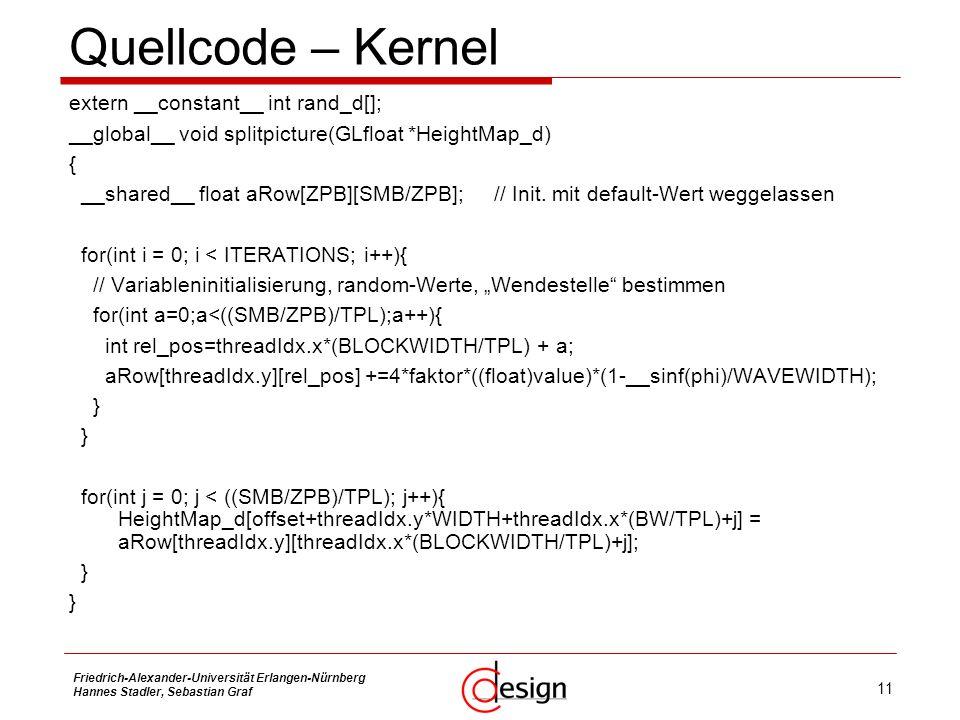 Quellcode – Kernel extern __constant__ int rand_d[];